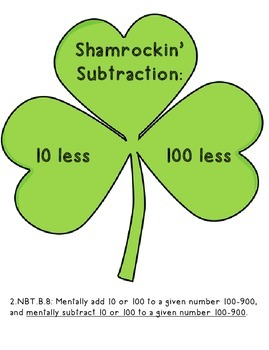 Shamrockin' Subtraction:10 less and 100 less pack