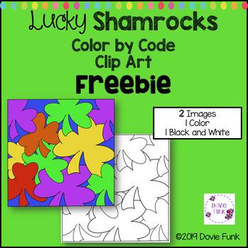 Shamrocks Color by Code Clip Art Designs FREEBIE