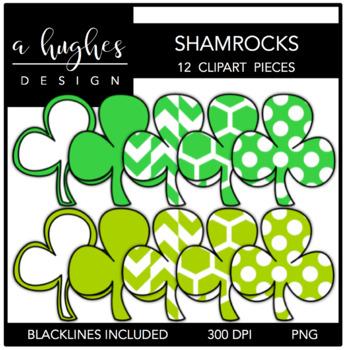 Shamrocks Clipart {A Hughes Design}