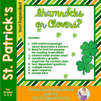 Shamrocks  St. Patrick's Day Informational Text with Comprehension Activities