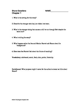 Shane Chapter Questions, Vocabulary and Answer Key