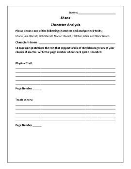 Shane - Character Analysis Activity - Jack Schaefer
