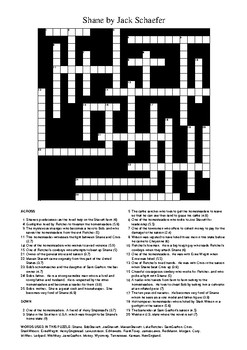 Shane by Jack Schaefer - Crossword Puzzle