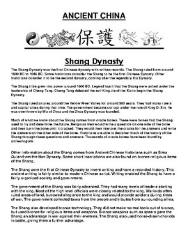 Shang Dynasty in ancient China Article and Assignment