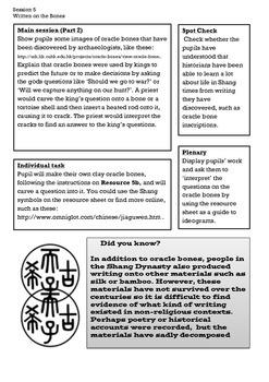 Shang Dynasty of Ancient China Lesson 5: Shang Writing and Oracle Bones