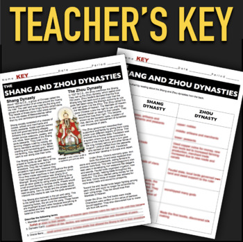 Shang and Zhou Dynasties Informational Text Worksheet