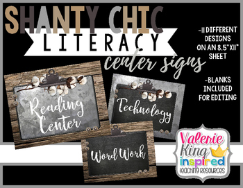 Shanty Chic Collection: Literacy Center Signs