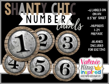 Shanty Chic Collection: Number Labels (Industrial Farmhouse)