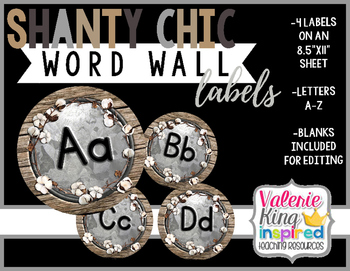 Shanty Chic Collection: Word Wall Labels (Industrial Farmhouse)