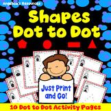 Naming Shapes : Number Sense - Dot to Dot Printables - Fine Motor Skills