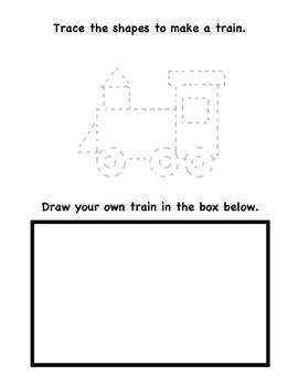 Shape Art Worksheet. Draw a train using shape. Elementary Art Worksheet