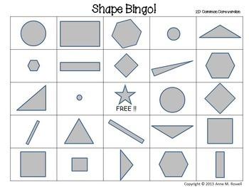 Shape Bingo - 2D Common Core Version