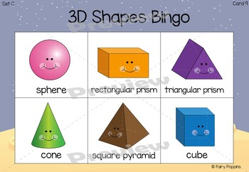 Shape Bingo - 2D and 3D shapes - 4 Different Class Sets Included!