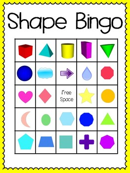 Shape Bingo (30 completely different cards & calling cards included!)