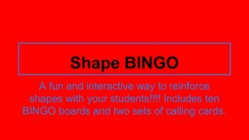 Shape Bingo for Kindergarten