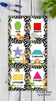Shape Cards & Signs 2D shapes - Jungle / Safari Themed