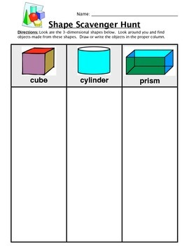 Shape Classroom Scavenger Hunt Worksheet