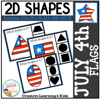 Shape Clip Cards: July 4th Flags