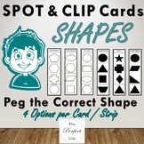 Shape Clip Cards, Spot and Clip with Pegs