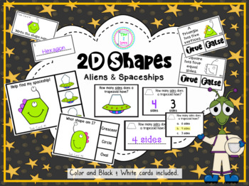 Shape Clip Cards: What's the 2D Shape? Space Aliens