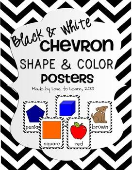 Shape & Color Posters - Black & White Chevron