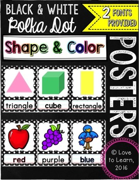Shape & Color Posters - Black & White Polka Dot