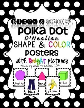 Shape & Color Posters - Black & White Polka Dot - D'Nealian Manuscript