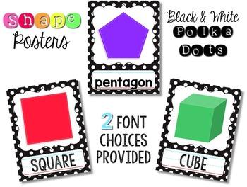 Shape & Color Posters - Black & White Polka Dot {Fun Font}