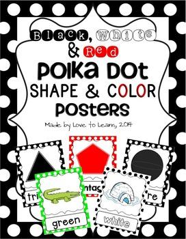Shape & Color Posters - Black, White & Red Polka Dot