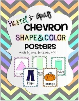 Shape & Color Posters - Pastel & Gray Chevron