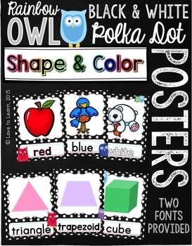 Shape & Color Posters - Rainbow Owl with Black & White Polka Dots