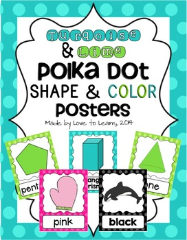 Shape & Color Posters - Turquoise & Lime Polka Dot