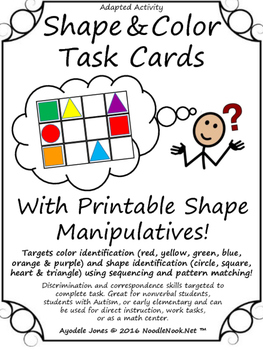 Shape & Color Task Cards- An Adapted Activity!