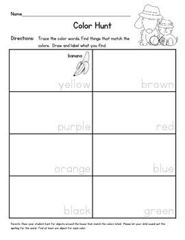 Shape, Color, and Number Hunt Homework