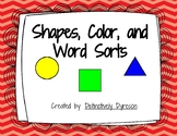 Shape, Color, and Word Sort