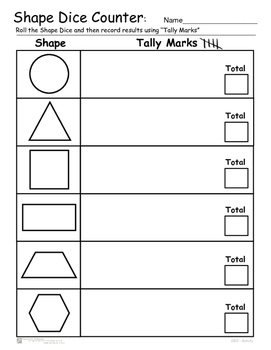 Shape Count  -  Dice and Tally Mark Center Activity - Common Core