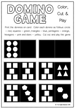 Domino Game - FREEBIE - Color, Cut & Play