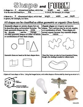 Shape (Element of Art/Design) Worksheet