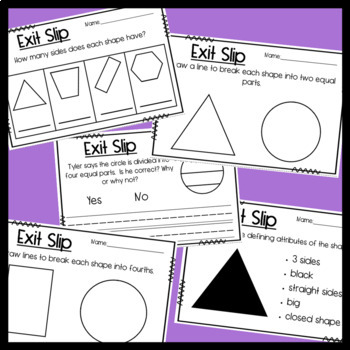 Shape Exit Slips: Shape attributes and Equal Parts