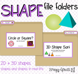 Shape File Folders 2D and 3D - Great for Early Ed or Speci