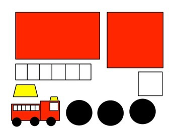 Shape Fire Truck Craft and Fire Straw Blowing Art House Template