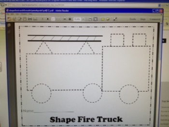 Shape Fire Truck Fire Safety Week Pre-K