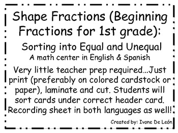 Shape Fractions:  Sorting into Equal and Unequal