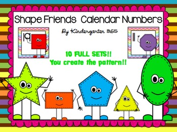 Shape Friends Calendar Numbers (10 Full Sets!!)