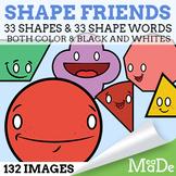 Shape Friends Clipart Pack - 2D Shapes with Faces