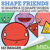 Shape Friends Clipart Pack - 2D Shapes with Faces