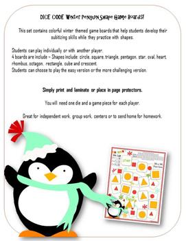 Shape Game ● Dice Code Penguin Shape Game ● Subitizing ● Math Centers