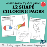 12 Geometry Shape Coloring Pages + Bonus Dice Game