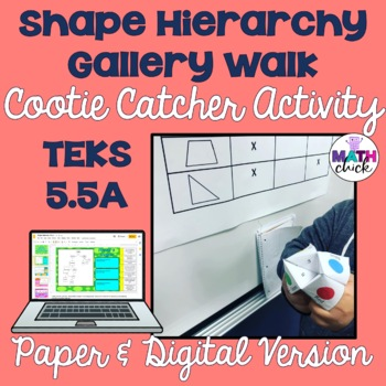 Shape Hierarchy Gallery Walk and Cootie Catcher Activity TEK 5.5A