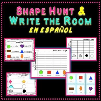 Shape Hunt and Write the Room Spanish